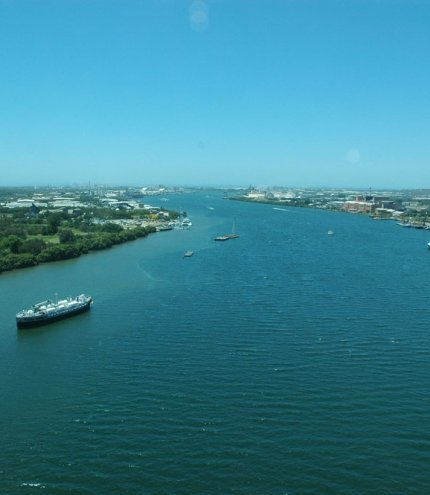 view of Brisbane river from top of Gateway Bridge