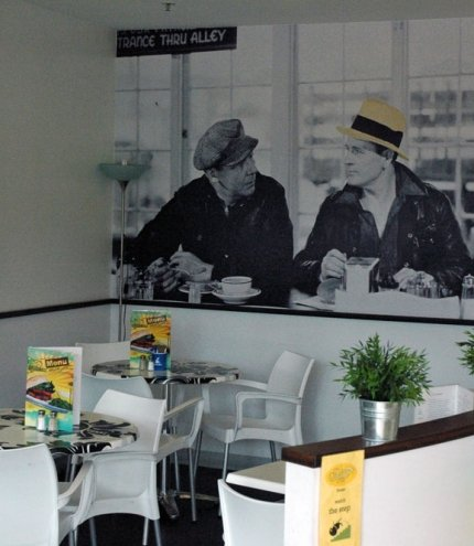 Poster of 1940's black and white film on wall inside Milk Bar Cafe in Brisbane's Ashgrove