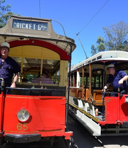 Brisbane Tramway Museum trams and conductors