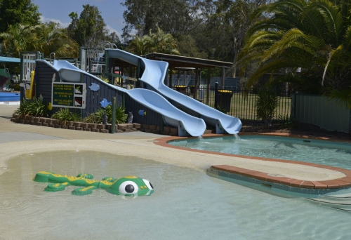 Slides and wading pool inside The Plantation Pool Gumdale