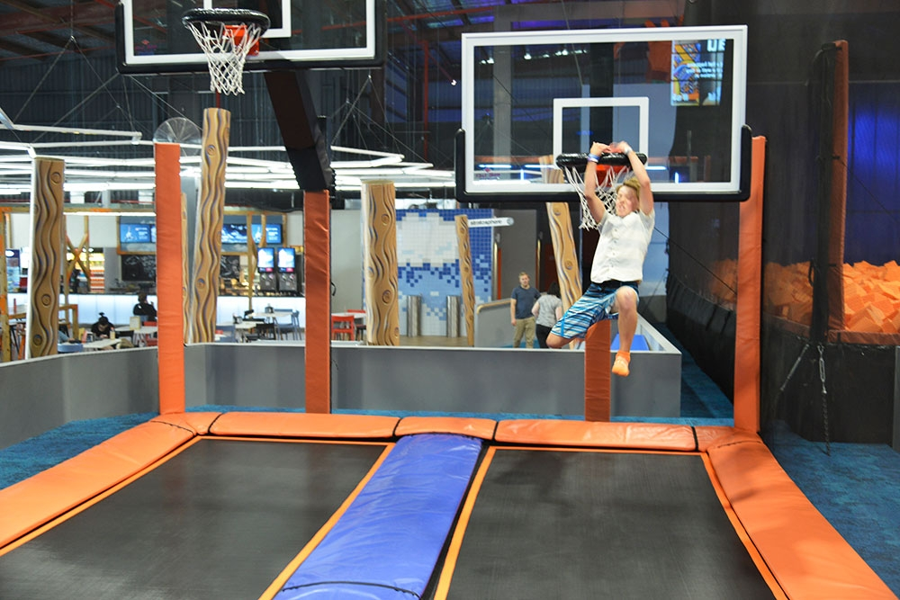 Sky Zone MacGregor trampolines and basket ball hoops